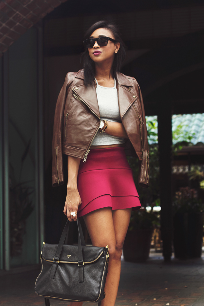 Filthy-Magic-Flounce-Skirt-Fossil-Motorcycle-Jacket-Brown