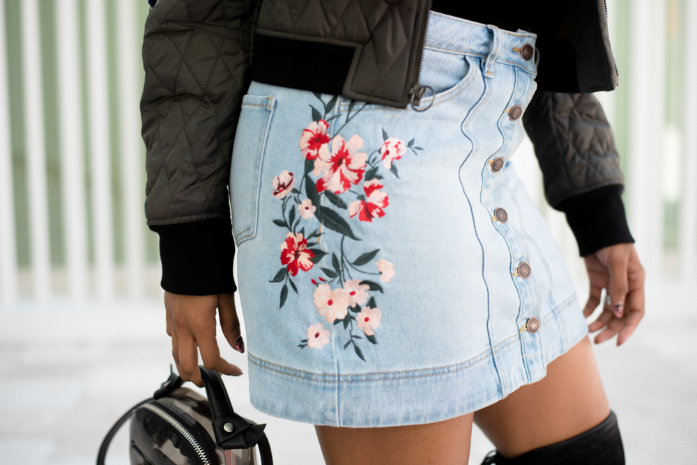 pacsun-embroidered-button-front-denim-mini-skirt